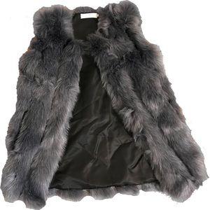 Gray Faux-Fur Vest Women's New Size S.